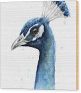 Peacock Watercolor Wood Print
