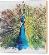 Peacock Watercolor Painting Wood Print