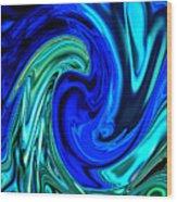 Peacocks Blue Abstract  Wood Print