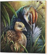 Peahen And Chick Wood Print