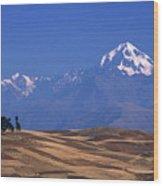 Peaks And Fields Near Cusco Peru Wood Print