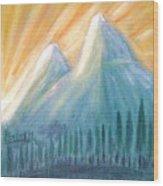 Peaks At Sunrise Wood Print