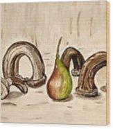 Pear Near Ancient Handle Jar. Wood Print