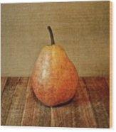Pear On Cutting Board 1.0 Wood Print
