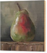 Pear On Wooden Crate Wood Print