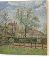 Pear Trees And Flowers At Eragny Wood Print by Camille Pissarro