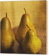 Pear Trio Wood Print by Rebecca Cozart