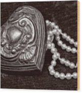Pearls From The Heart - Sepia Wood Print