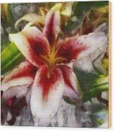Pearly Petals Satin Leaves Wood Print