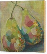 Pears A La Klimt Wood Print