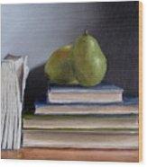 Pears And Books Wood Print