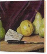 Pears And Cheese Wood Print