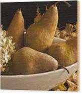 Pears And Hydrangea Still Life  Wood Print