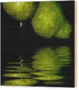 Pears And Its Reflection Wood Print