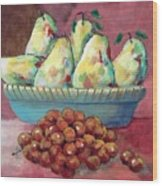 Pears In A Bowl Wood Print