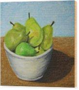 Pears In Bowl 2 Wood Print