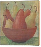 Pears In Copper Bowl Wood Print