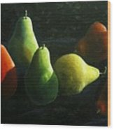 Pears In Darkness Wood Print
