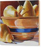 Pears In Yelloware Wood Print