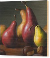 Pears with Chestnuts Wood Print