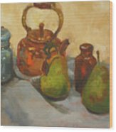 Pears With Copper Kettle Wood Print