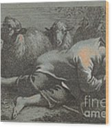 Peasant Boy Asleep Near Two Sheep Wood Print
