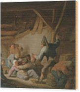 Peasant Brawl In A Tavern Wood Print