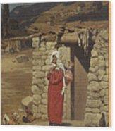 Peasant Carrying Water Wood Print