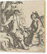 Peasant Couple At Rest Wood Print