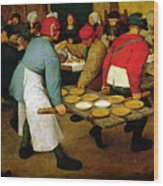 Peasant Wedding Wood Print by Pieter the Elder Bruegel