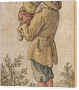 Peasant With Child Wood Print