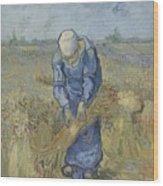Peasant Woman Binding Sheaves After Millet Saint Remy De Provence  September 1889 Vincent Van Gogh Wood Print