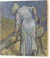 Peasant Woman Bruising Flax After Millet Saint Remy De Provence September 1889 Vincent Van Gogh  Wood Print