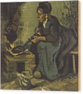 Peasant Woman Cooking By A Fireplace Wood Print