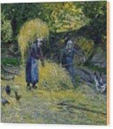 Peasants Carrying Straw Montfoucault 1875 Camille Pissarro Wood Print