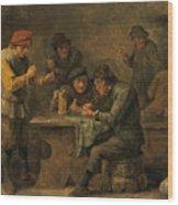 Peasants Playing Dice Wood Print