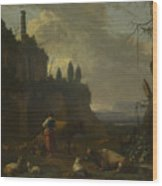 Peasants With Cattle By A Ruin Wood Print