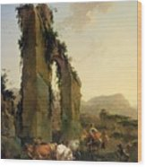 Peasants With Cattle By A Ruined Aqueduct Wood Print