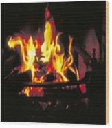 Peat Fire In Ireland Wood Print