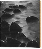Pebble Beach By Moonlight Wood Print