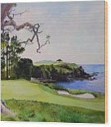 Pebble Beach Gc 5th Hole Wood Print by Scott Mulholland