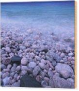 Pebble Shore Of Georgian Bay In Winter Wood Print by Oleksiy Maksymenko