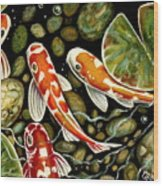 Pebbles And Koi Wood Print by Elizabeth Robinette Tyndall