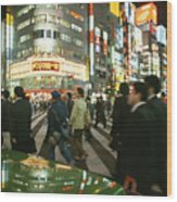 Pedestrians Cross A Crowded Tokyo Wood Print by Justin Guariglia