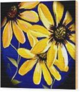 Peekaboo Sunflowers Wood Print