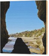 Peeking From Coastal Cave Wood Print