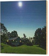 Pegasus And Moon Over The Shenandoah Valley Wood Print