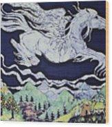 Pegasus Flying Over Stream Wood Print
