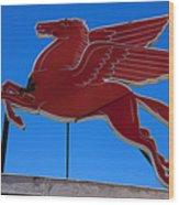 Pegasus Oil Sign Wood Print