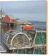 Peggys Cove And Lobster Traps Wood Print